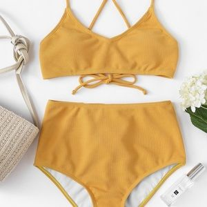 High-waisted yellow bathing suit